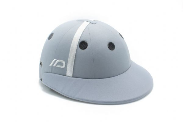 Instinct Polo Helmet Light Grey with White Strap and Black Grommets